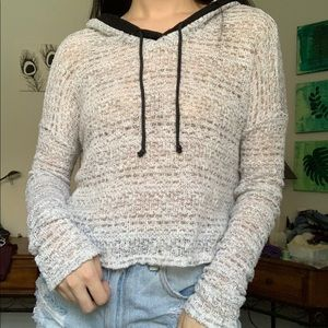 White & black knit hooded sweater